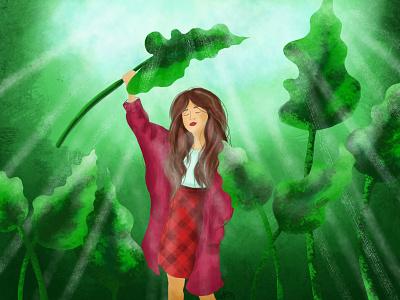 girl with plants portrait illustration caracter design portrait art book illustration background raster portrait caracter illustration art illustration