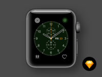 Watch faces chronograph dark green
