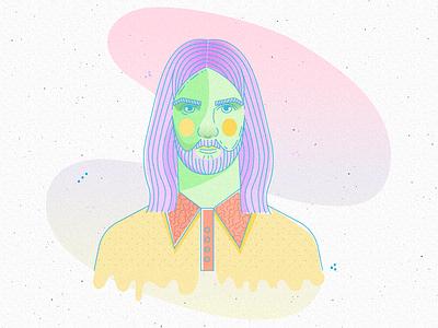 Kevin pastel colors love music kevin parker portrait lines illustration tame impala