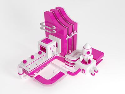 Hello Dribbble pink brand invitation design creative 3d yaligya shots dribbble