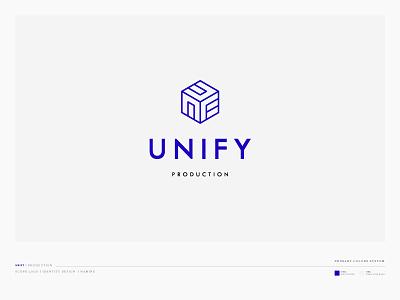 Unify Production logo blue creative symbol branding brand icon yaligya unify logo