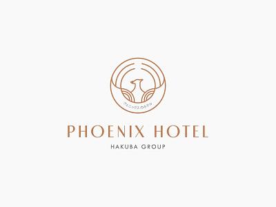 Phoenix Hotel Logo wordmark branding brand japan hotel logo phoenix symbol logo