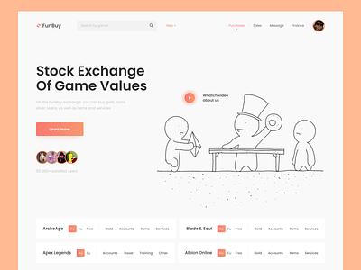 FunBuy - game valuables exchange content gold game website web photoshop figma web design uiux landing page header ux