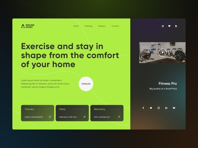 Inside sport - Trainers for training at home diets trainer design header web photoshop landing page figma website product ux ui