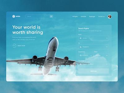 Marwa - Ticket Booking design header website trip travelling tourism travel plane flight booking flow booking book simple design flight search ui ux landing page figma
