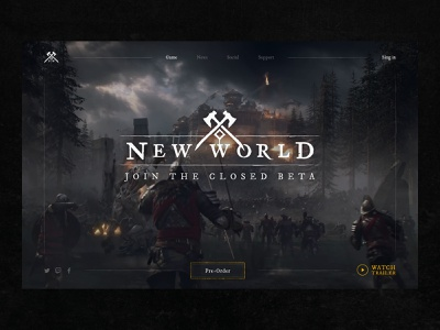 New World - new online MMORPG game gaming games interface concept photoshop design ui header ux landing page website figma pc mmorpg rpg mmo game