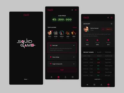 Squid game application mobile application app squid game design ui photoshop ux figma website