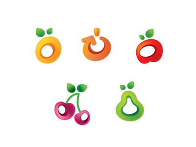 Fresh Icons fresh fruits icons group set color juicy