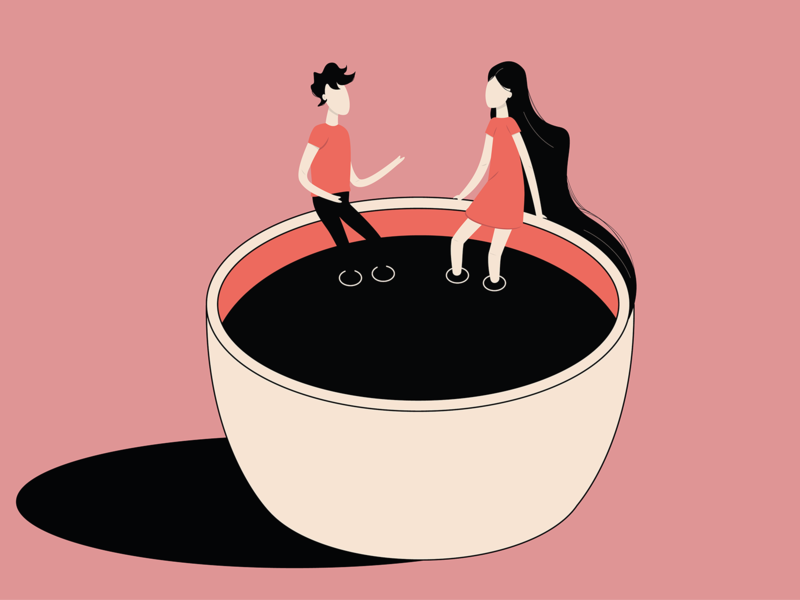 Couple in cup minimal flat vector design illustration