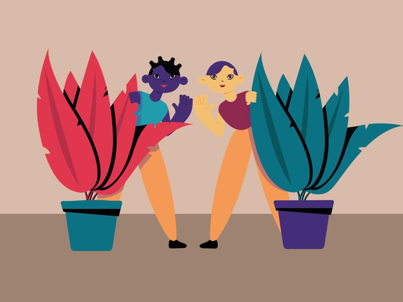 Girls and Plants vector minimal illustration flat design