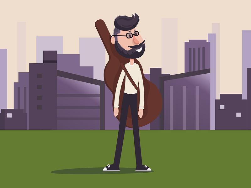 Hipster man minimal vector illustration flat design