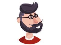 Hipster Man   Head vector illustration flat design
