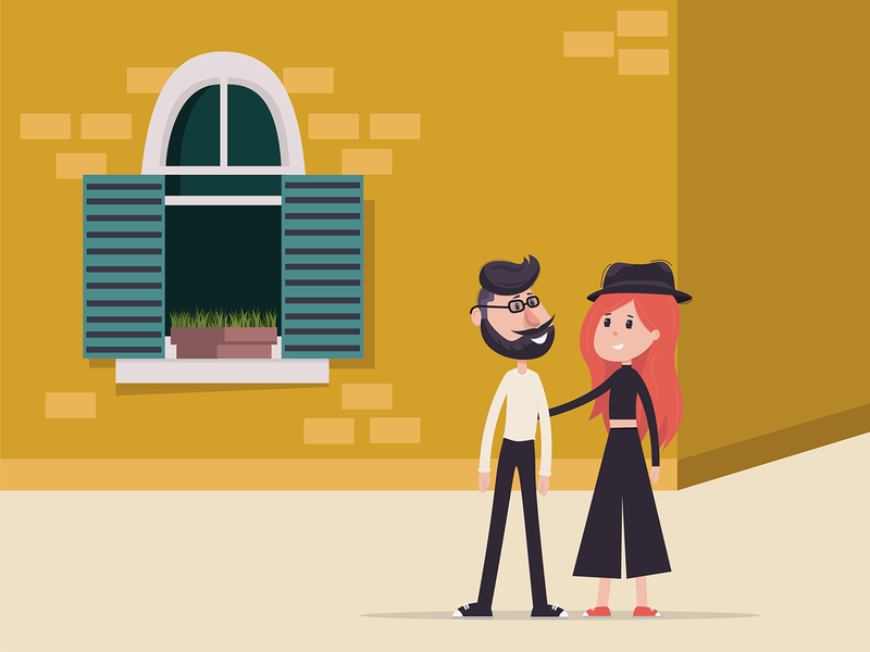 Hipster man and a girl minimal vector illustration flat design