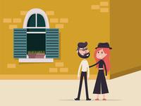 Hipster man and a girl minimal vector illustration flat design