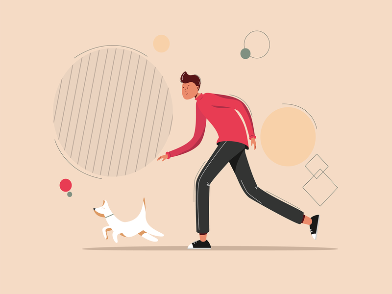 Running Man With a Dog minimal vector illustration flat design