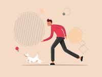Running Man With a Dog minimal vector illustration flat design