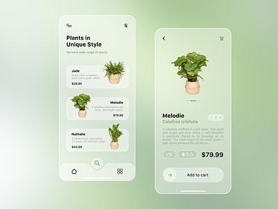 Plant Shop App buy transparent glass green elegant swipe shop plant app ui modern application glassmorphism plants plant minimal design clean app design ux app