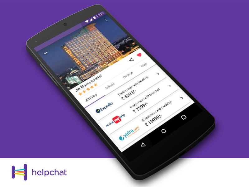 Helpchat -Concept Design - Hotel Deals Screen ux ui product online material helpchat design application android