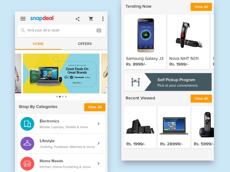 Snapdeal - Material Design desgin material ux ui shopping shop product online fashion ecommerce