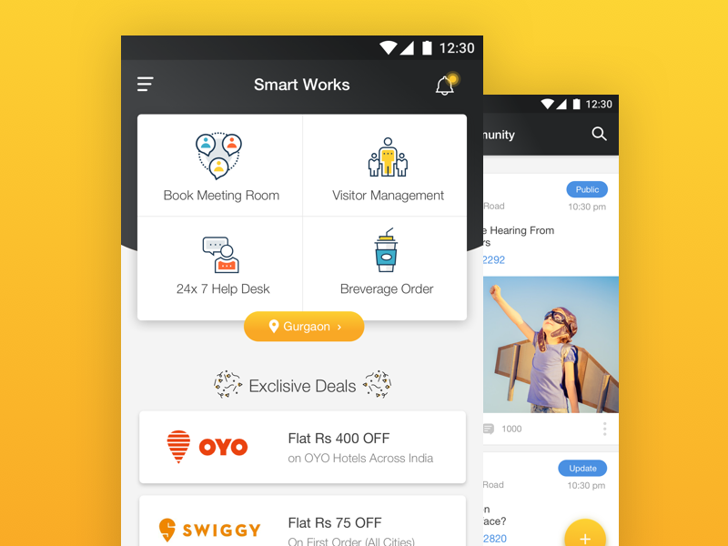 Smart Works ux ui prototyping mobile material product flat concept clean app android