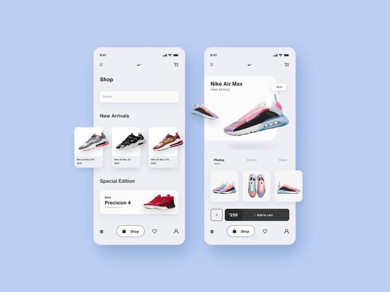 Nike Shoe App | UI Design interation minimal shoe shop product nike shoes shoe app nike ui nike app nike illustration logo branding ecommerce app e commerce design 2020 ui trends ui app ui app design