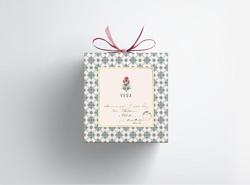 veda print design gift box packaging design minimal logo graphic design design branding