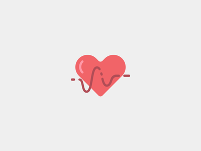 Health Icon clean red icon health heart flat