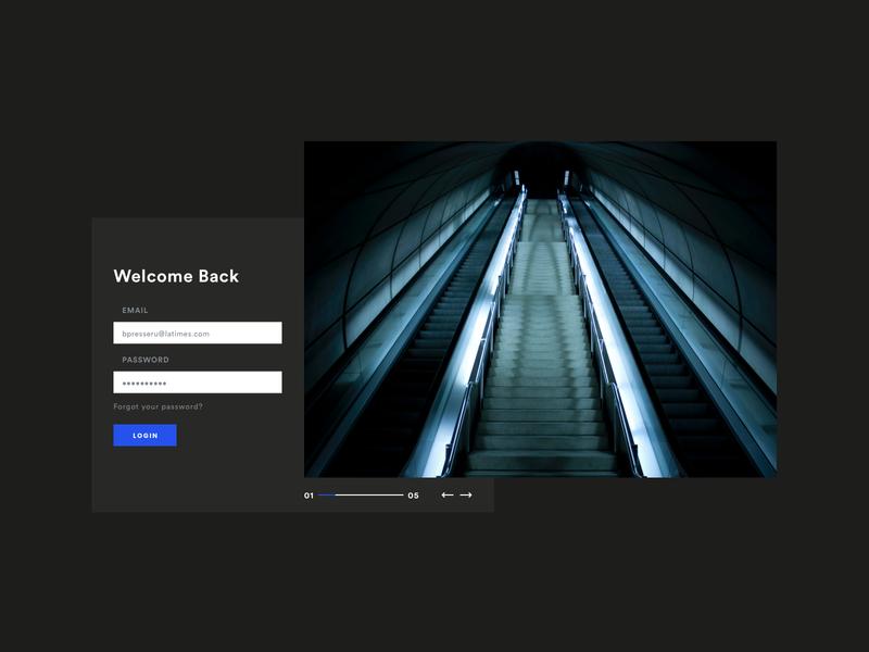 Login screen carousel design blue black minimal flat
