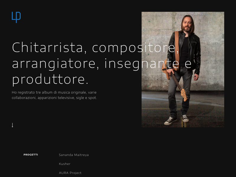 Luca Pedroni - Website guitar guitarist musician design blue white black ui minimal flat