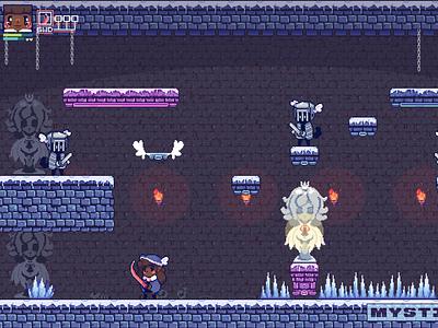 Ice Princess, Castle Interior tileset blackart game designer game design mockup design game development pixel art gaming pixel artist