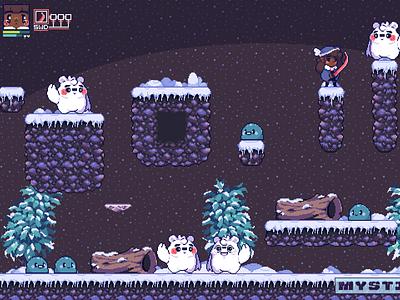 Ice Princess, Snow Ruins sprites retro blackart mockups character design gaming game development pixel artist pixel art mockup design
