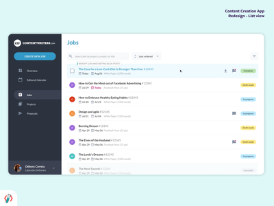 Content Management | List view design flat data crm app ui figma ux product design crm software responsive list view