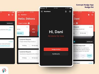 Concept Nudge App | List concept sketch adobe xd prototype interface react native web app ux ui nudge
