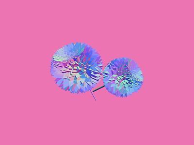 Dandelions Dahlias spring geometric art pink purple visual art 3d art illustration flowers