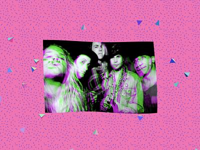 Grunge Poster wavy music pink visual art 3d art poster grunge