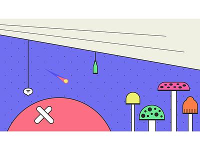 Multi-Screen Mural for JSConf EU 2019 — Part III comet chat bottle shrooms planet multi-screen growth community diversity design installation art animation popart skateart streetart galaxy space purple mural illustration