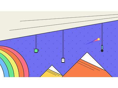 Multi-Screen Mural for JSConf EU 2019 — Part I smartphone microphone mug mountains rainbow multi-screen illustration mural purple space galaxy streetart skateart popart animation installation art design diversity community growth