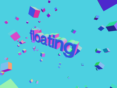 3D Floating Typo visual art typo cubes space float pink green purple blue 3d art typography