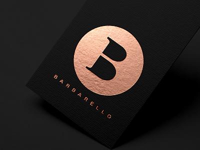 Barbarello cocktail bar b logo design copper logo