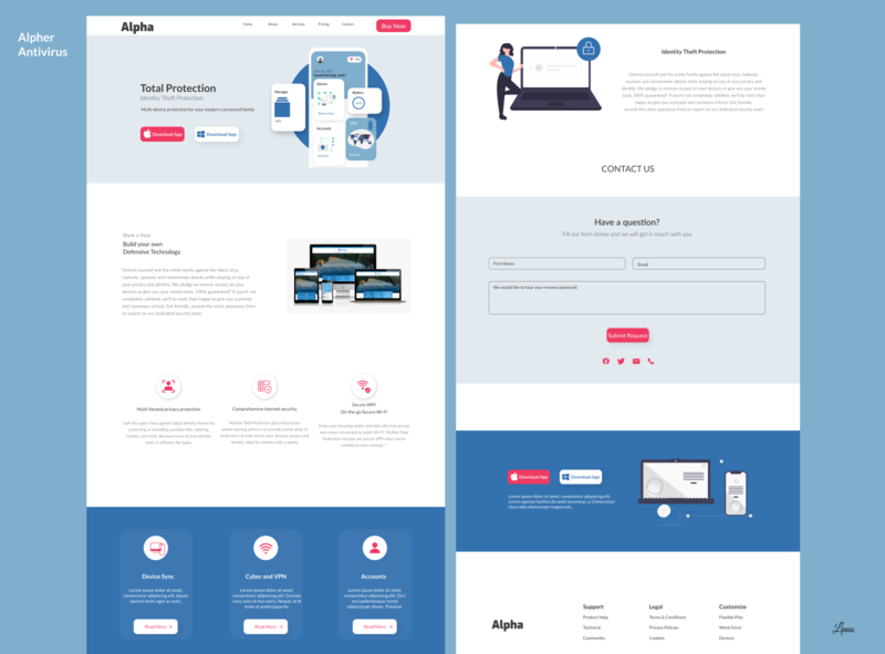 HNG Project. Antivirus Website Landing Page website app web ux ui design
