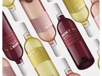 Bask Wine logo minimal rosé white red design branding packaging