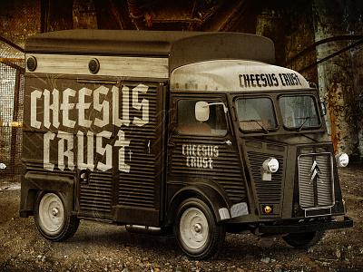 Cheesus Crust Pizzeria truck typography textures food cross cheese restaurant pizza wordmark logo