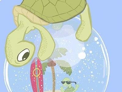 Curious Little Turtle dude beach snow snowglobe turtle