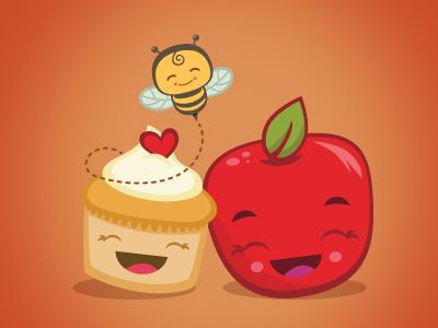 Honey Cupcake and Happy Apple sweet honey bee bakery cupcake apple fruit