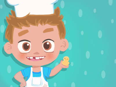 Little Chef is prepared for Easter boy child cooking bakery blue kids chef easter