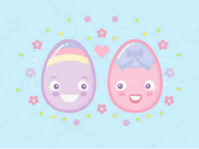 Happy Easter Love blue pink love couple cute pastel easter egss