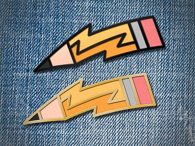 Quick Sketch - A Pin Design artsy designer threadless pin lightning pencil