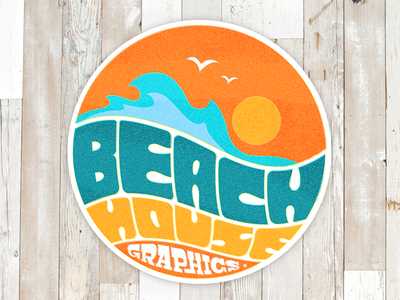 Vintage sticker for Beach House Graphics typography retro sixties wood vintage sticker