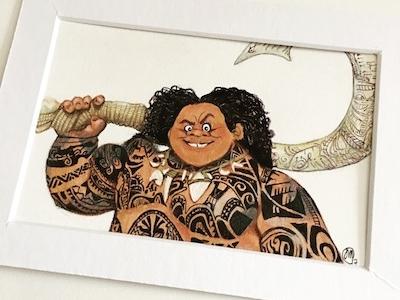 Maui Illustration colored pencils handmade ink watercolor disney illustration