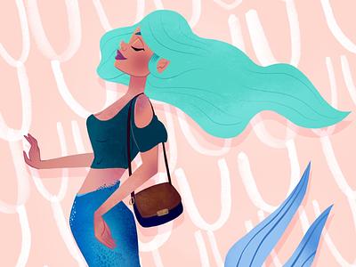 Snooty Mermaid for #Mermay2018 character procreate pink teal illustration mermaid
